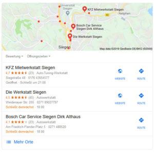 Beispiel für Google local Pack - Locale SEO Suchresultate